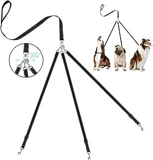 OxyPlay Heavy Duty Tangle Free 3/Three Way Dog Coupler Leash with Padded Handle,Reflective Triple Braid Split Lease Pet Leash for Walking 3/2/1 Medium Large Dogs Training(Black)