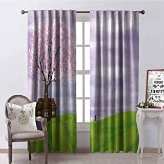 GUUVOR Nature 99% Blackout Curtains Single House by Blooming Spring Tree and Little Girl with Kite Idyllic Picture for Bedroom Kindergarten Living Room W42 x L84 Inch Lime Green Lilac