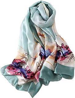GERINLY Elegant Floral Print Head Scarf Satin Neck Wrap oblong Silk like Hiar Wear for Ladies