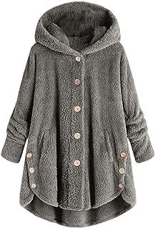 Women's Casual Fleece Fuzzy Button Down Jackets Winter Outwear Coat