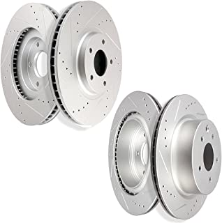 SCITOO Brake Kit, 4pcs Drilled Slotted Discs Brake Rotors fit Infiniti EX35 EX37 G25 G35 G37 M35 Q40 QX50,Nissan 350Z 370Z Maxima,Front and Rear
