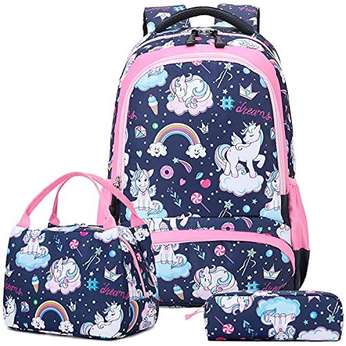 Mochila Escolar Niñas Unicornio Mochila para Chicas Adolescente Mochilas Infantil Primaria Bolsas Escolares para La Escuela,Viajes