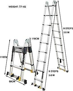 Escalera escamoteable Escalera de aluminio, 440 Lb Gran capacidad de carga, A-Tipo de la extensión doblada en una escalera larga, industrial compacto Loft Escalera diarias del hogar o de uso de emerge