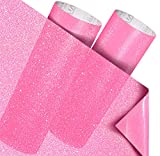 VViViD 2-Roll Pack Transparent Crystal Tint Frosted Adhesive Crafting Vinyl Film 12 Inch by 48 Inch Including 12 Inch by 24 Inch Sheet of High-Tack Transfer Paper (Pink)