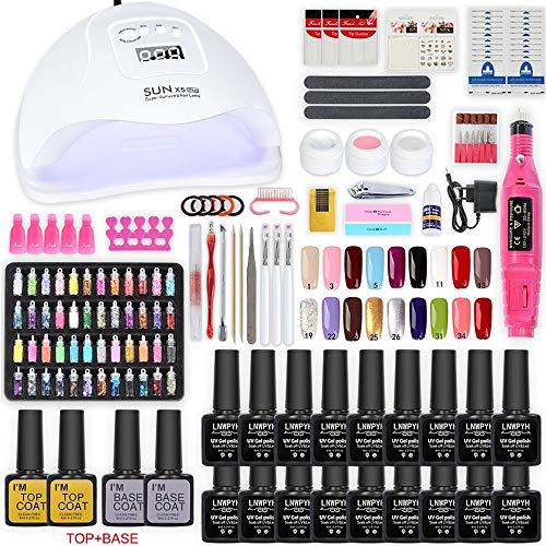 Kit de esmalte de uñas con 48W UV Light Starter Kit Set de esmalte de gel - 16 colores, lámpara de uñas LED con herramientas de manicura mejoradas (54W Fixed 18 color)