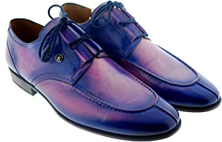 Oscar William Blue/Pink Felix Mens Luxury Classic Handmade Leather Shoes-11