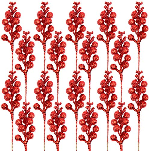 DIYASY Artificial Red Berry Stems,20 Pcs 7.8 Inch Glitter Christmas Tree Picks for Christmas Tree Ornaments,DIY Xmas Wreath, Holiday and Home Decoration