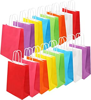 Tomnk 32pcs Paper Bags, 8 Colors Party Favor Bags,Colored Kraft Candy Bags with Handle for Birthday, Gift, Wedding and Party Celebrations