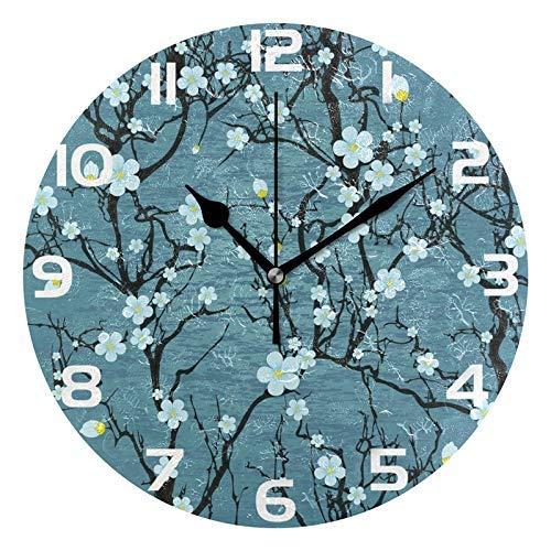 zhulaowufenbaoyouxi Tropische Dschungel-Blumen- und Blatt-runde Acrylwanduhr, stille Nicht tickende Ölgemälde-Innenministerium-Schuldekorative Uhr-Kunst