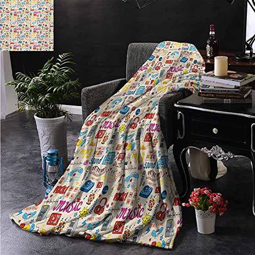ZSUO bont gooien deken Retro Collage Illustratie van verschillende instrumenten gitaar viool Jazz Pop Art Boho Camping deken - het gooien van een deken