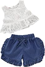 Toddler Baby Girls Princess Lace Dress Vest Tops+Denim Ruffled Hem Shorts Pant Jeans Outfits Clothes Two Piece