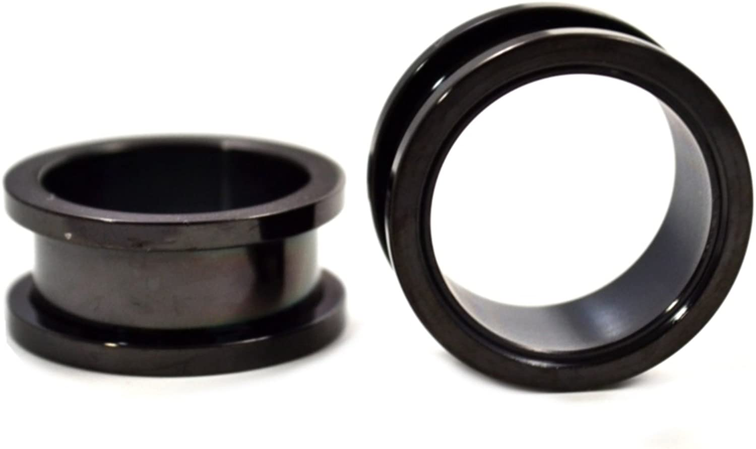 Pair 2 Black Limited time sale Titanium Screw Fit Al sold out. Ear Plated Steel Plugs Tunnels