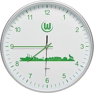VfL Wolfsburg Modische Wanduhr, Uhr, Wall Clock Skyline Durchmesser ca 29 cm - Plus Lesezeichen Wir lieben Fußball