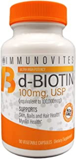 High Dose Biotin (as d-Biotin, USP) 100mg (Equivalent to 100,000mcg) 90 Capsules, High Potency