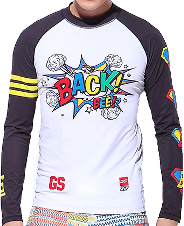 GSOU SNOW Men's Quick Dry Rash Guard Long Sleeve UPF 50+ Swim Shirt