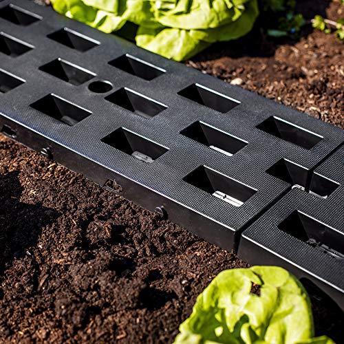 UPP Stabile Garten Wegplatten aus Kunststoff | Wetterfeste und unverwüstliche Beeteinfassungen | Für sicheren Tritt auch auf schwierigem Untergrund [52 x 22 cm, 12 STK.]