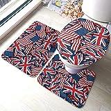 NI Banderas británicas Americanas de 3 Piezas Absorbente de Agua Antideslizante Juego de alfombras de baño de 15.7x23.6 Pulgadas Cubierta de Tapa de Inodoro con Forma de U