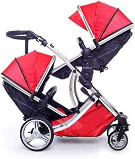Yo-Yo2015 Baby Stroller Twins Stroller Baby Stroller Double Front and Rear Car Light Folding Baby Child Car for Twins Stroller Twins Pram Stroller (Color : B)