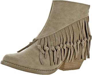 Sbicca Womens Byanca Fringe Stacked Heel Ankle Boots