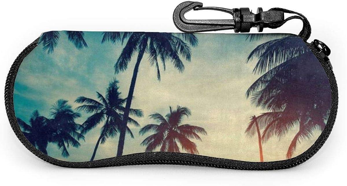 Palm Trees Sky Sunglasses Soft Case Ultra Light Neoprene Zipper Eyeglass Case With Key Chain