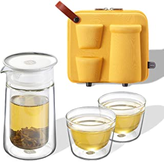 ZENS Travel Tea Set Glass, Portable Teapot Infuser Set for Loose Tea, 160ml Double Wall Tea Pot and 2 Teacup with Eva Case for Travel Picnic or GIF,Yellow - coolthings.us