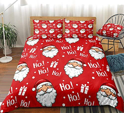 Prinbag Juego de Funda nórdica navideña Navidad Papá Noel Textiles para el hogar Ropa de Cama roja Funda de edredón de Dibujos Animados para Regalo de niños 135x200cm