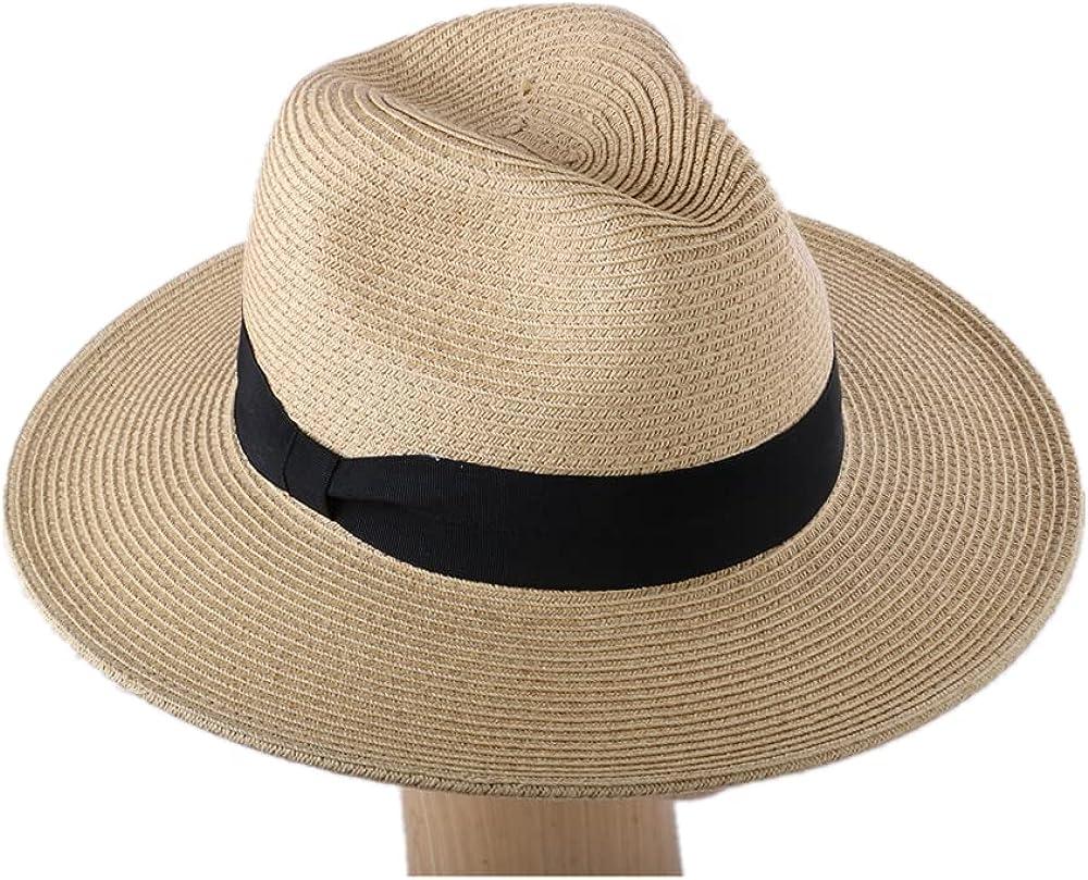 JENDI Womens Wide Brim Straw Panama Sun Hat Foldable/Packable Beach Fedora Sun Hat for Summer UV Protection UPF50+ Adjustable