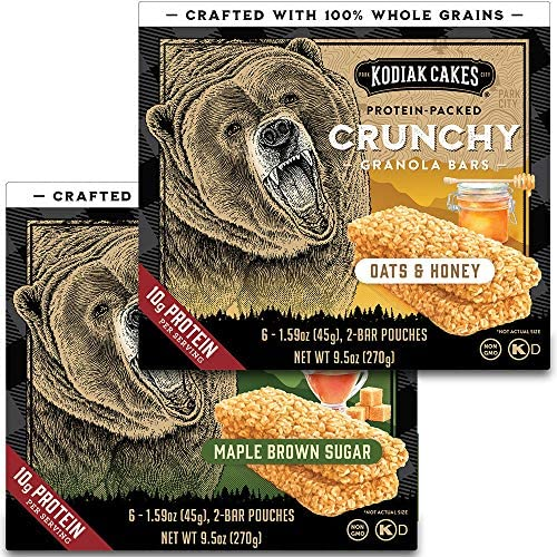 Kodiak Cakes Crunchy Granola Bar Variety Pack 2 Boxes Oats Honey and 2 Boxes Maple Brown Sugar product image