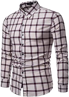 Soft and Close Hot Fashion Long-Sleeved Shirt, Casual Plaid Shirt Men Cultivating Spring Buttons, Machine Washable wl (Color : Beige, Size : M)