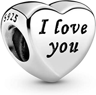 Words Of Love Engraved Heart Charm, Sterling Silver, One Size
