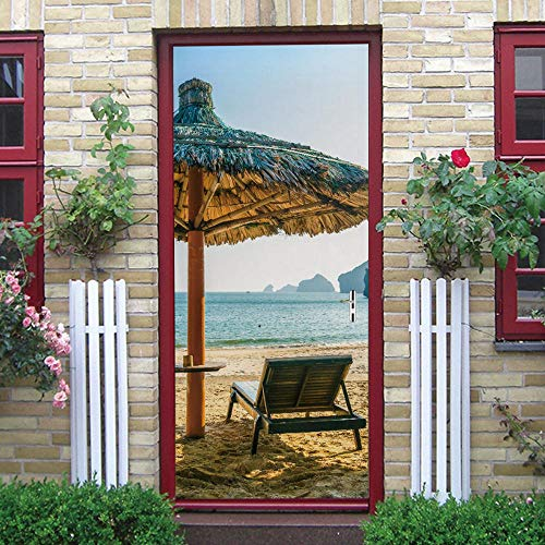 Türposter 3D Tür Aufkleber Wandaufkleber Wandbild Fotos Bad Schlafzimmer Büroraum Kreative Selbstklebende Dekoration 77X200 Cm (Strandkorb)