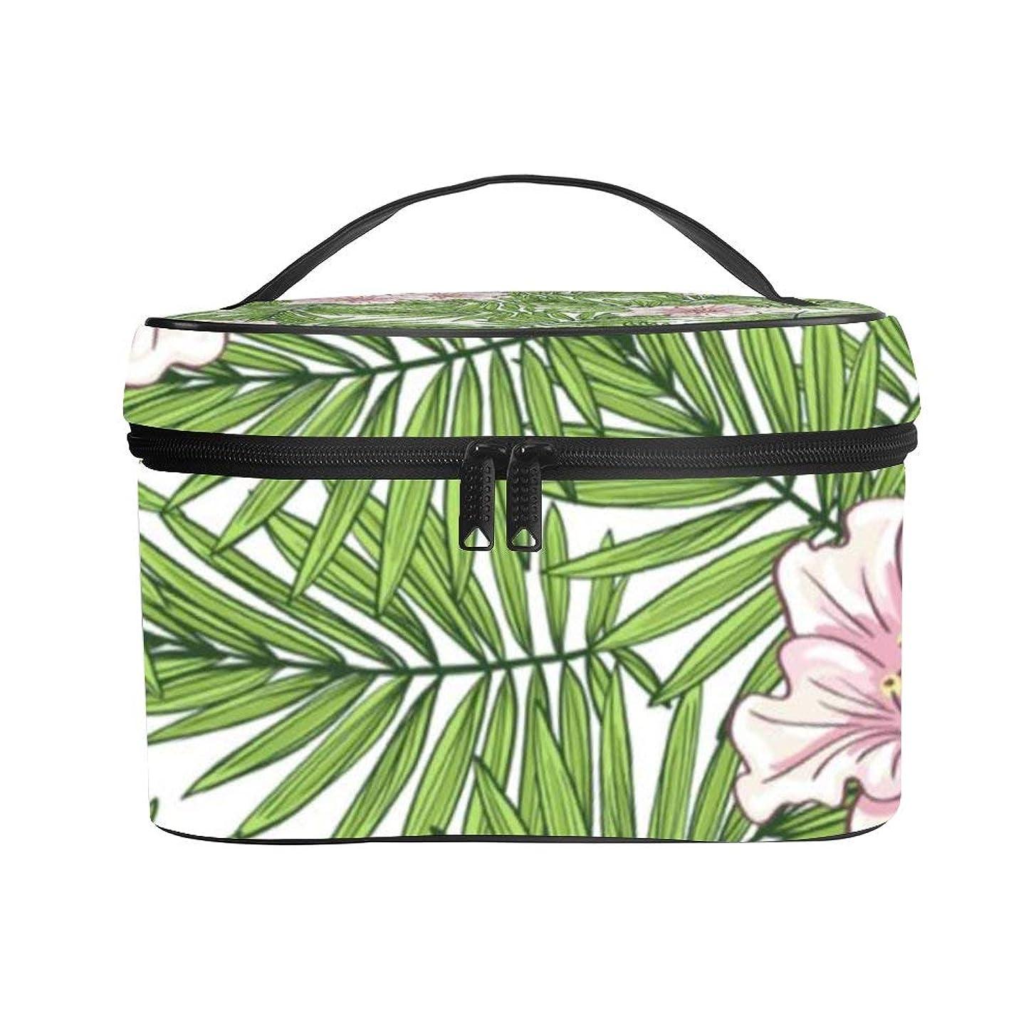 植生神のコントラストメイクぼっくす PUレザー コスメボックス バニティポーチ アロハ ハワイのヤシの葉 花柄 化粧ボックス メイクブラシバッグ トラベルバッグ 人気 かわいい 大容量 機能的