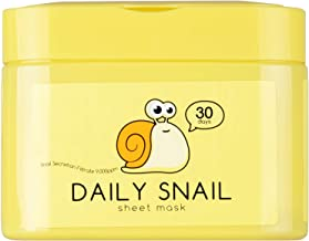 QTBT Daily Snail Sheet Mask with Snail Secretion Filtrate 9000ppm, Pack of 30 Sheets, EWG Verified