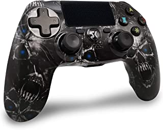 Mandos PS4 Inalambricos, Controlador PS4 Inalámbrico Dual Shock Gamepad de Doble Vibración SIX-AXIS con Touch Pad y Conector de Audio para PlayStation 4 / PS3 / PC (Cráneo Negro)