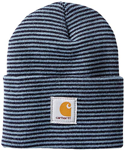 Carhartt Men's Acrylic Watch Hat A18, Steel Blue/Navy Stripe, One Size