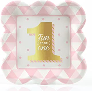 Big Dot of Happiness Fun to be One - 1st Birthday Girl with Gold Foil - Dessert Plates (8 Count)