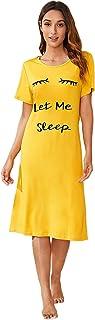SheIn Women's Casual Short Sleeve Letter Print Dress Sleepwear