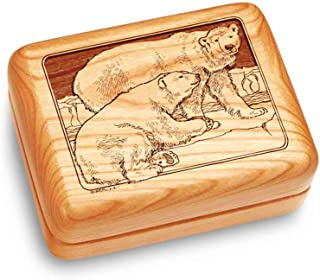 Image of Engraved Cherry Wood Polar Bear Music Box