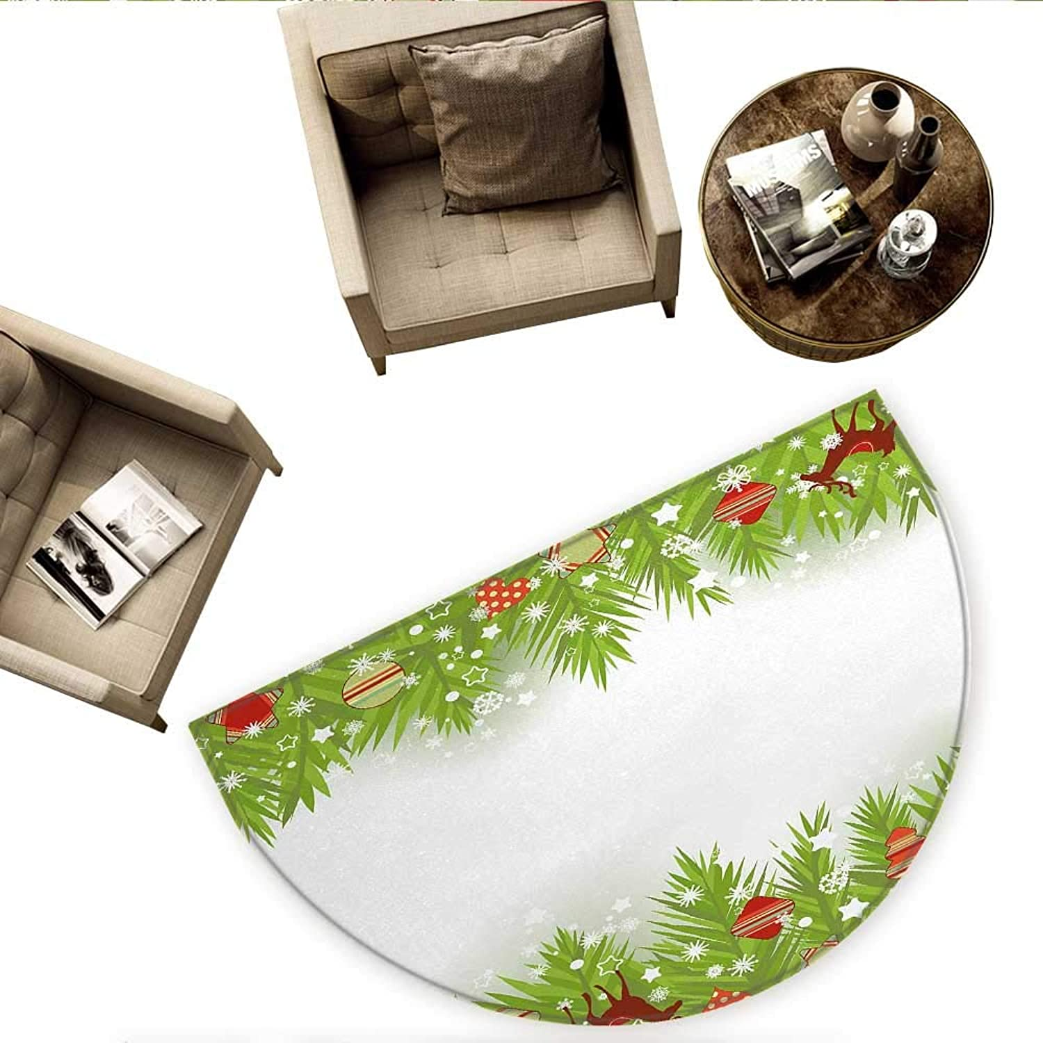 Kids Christmas Semicircular CushionSpruce Coniferous Noel Tree Border with Artistic Flakes Reindeer and Hearts Entry Door Mat H 59  xD 88.6  Multicolor