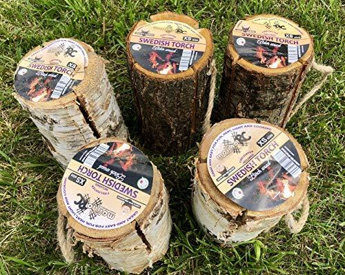 5 x Schwedenfeuer inkl. Anzünder | Finnenfeuer | Baumstammfackel |Gartenfackel | Lichtrollen | Ø 12-14cm -> Höhe 25-30cm | molinoRC ® Fackeln