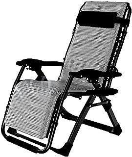 Lounge chair Sillón reclinable de Lujo, Silla Tumbona Plegable reclinable de Gravedad Cero con portavasos Sillón portátil para terraza Balcón Playa al Aire Libre,Gray