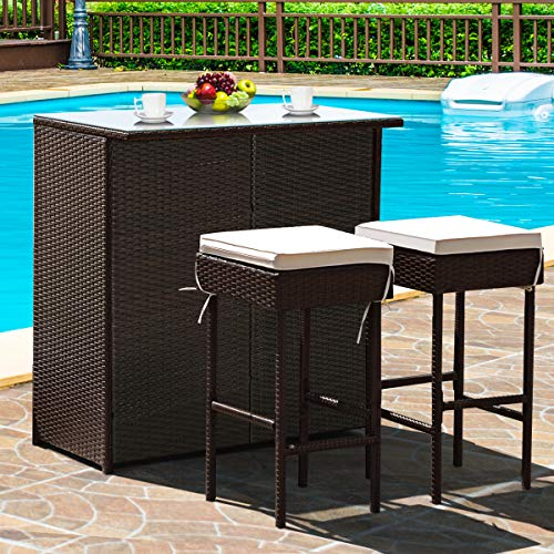 Tangkula Patio Bar Set, 3 Piece Outdoor Rattan Wicker Bar Set with 2 Cushions Stools & Glass Top Table, Outdoor Furniture Set for Patios, Backyards, Porches, Gardens or Poolside (Brown)