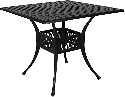 wholesale Sunnydaze Square Patio Dining Table - outlet online sale Outdoor Heavy-Duty Black Cast Aluminum - discount 4-Person Outside Patio Furniture with Umbrella Hole - Modern Dinette Table - Outdoor Patio Table - 35-Inch online sale