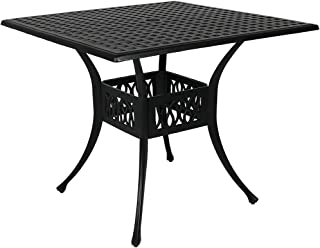 Sunnydaze Outdoor Square Patio Dining Table, Heavy Duty Cast Aluminum, 35-Inch, Black