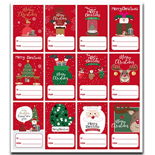 120 PCS Self Adhesive Christmas Holiday Name Tags Stickers, Christmas Labels Decoration, Xmas Tag Stickers (red)