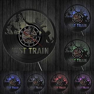 MMSDGZ Just Train Bodybuilding Fitness Training Sport Vinyl Record Wall Clock Gymnasium Fitness Center Decor Clock Watch Gift for Him