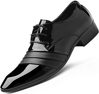 Zapatos de cuero para hombre, con cordones, puntera puntiaguda, suela de goma plana brillante, vestido formal, zapatos de ...