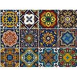 decalmile 12 Piezas Pegatinas de Azulejos 15x15cm Vintage Retro Azul Marroquí Adhesivo Decorativo...