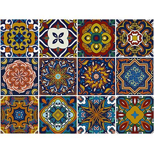 decalmile 12 Piezas Pegatinas de Azulejos 15x15cm Vintage Retro Azul Marroquí Adhesivo Decorativo para Azulejos Cocina Baño Decoración