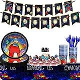 Among Us Fiesta Vajilla, Set de Fiesta de cumpleaños de Among Us, fiestas de cumpleaños infantiles, Incluye Plato, Taza, Cuchara, Tenedor, Cuchillo, Pancartas Fiestas Suministros Among Us